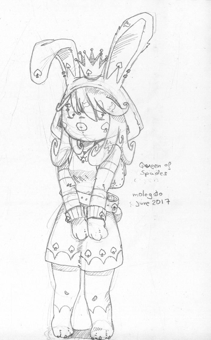 Sketch: Queen of Spades by molegato