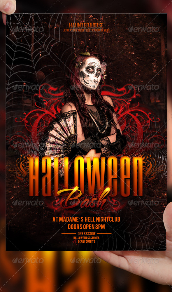 halloween bash flyer template by lordfiren - Free Halloween Flyer Templates