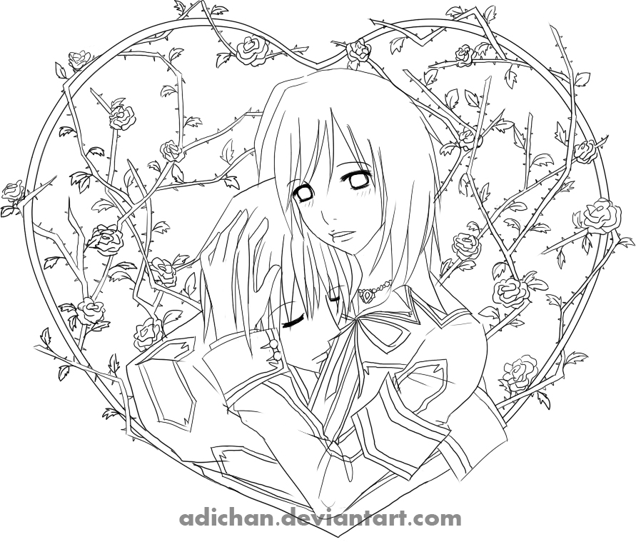 Vampire knight lines by adichan on deviantart for Vampire knight coloring pages
