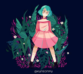 Wild Pink - Monsterata adansonii by KingNeonHappy