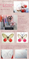 how to make Pink Glasswing Butterfly with paper by CloverKane