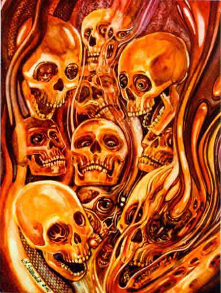 Flaming Skull Paint Graphite By Artisticminds666