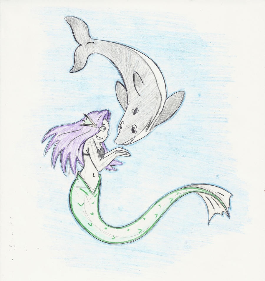 Colored - The Mermaid and the Dolphin by PinkuFootsie