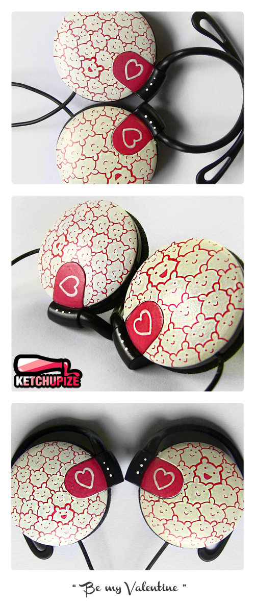 ''Be my Valentine'' Clip-on headphones by Ketchupize