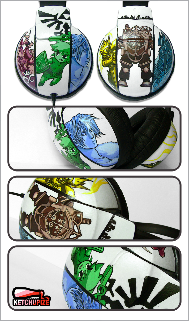 Video games hand painted headphones by Ketchupize