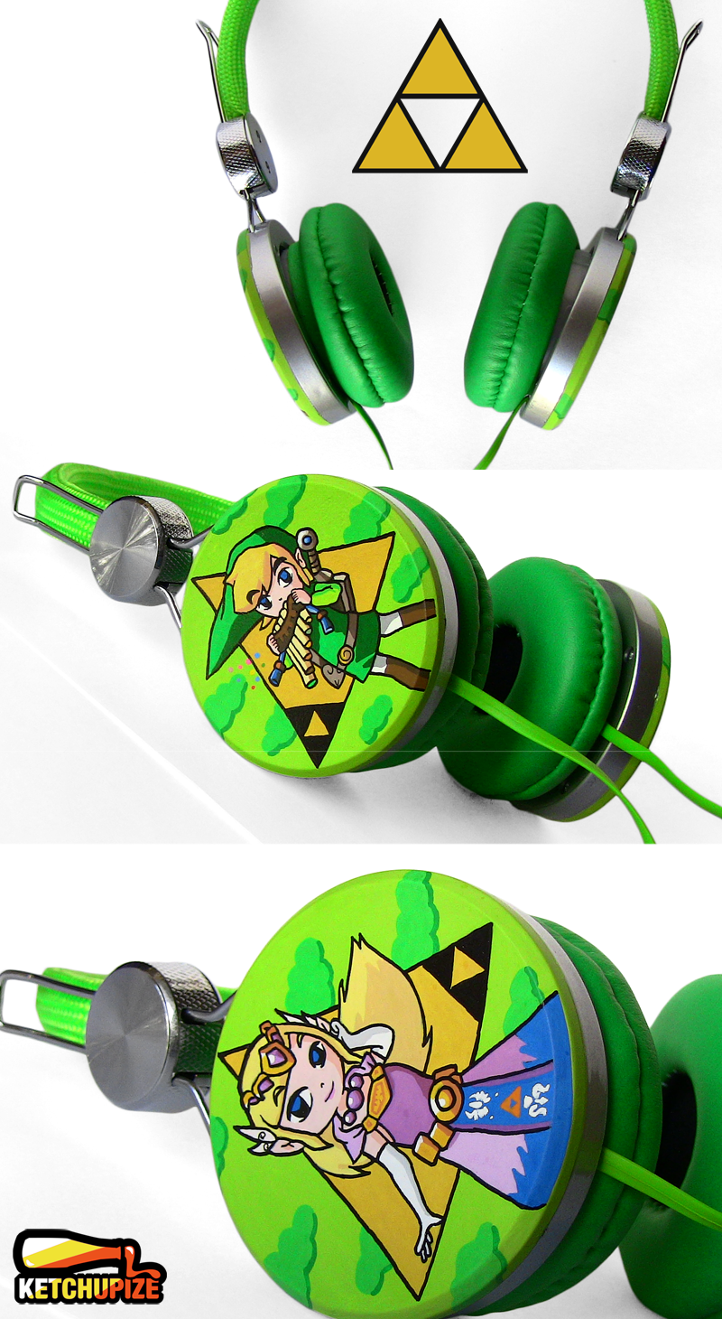 New Legend of Zelda handpainted Headphones by Ketchupize
