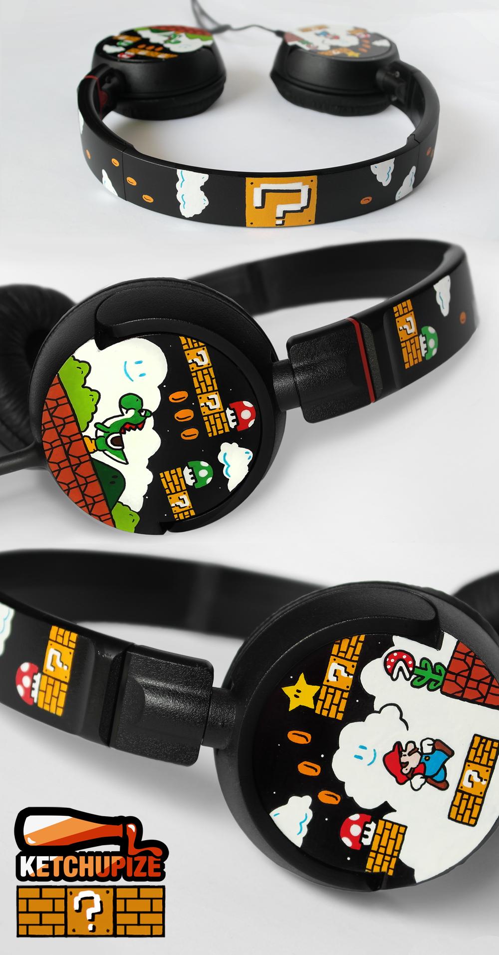 Super Mario headphones by Ketchupize