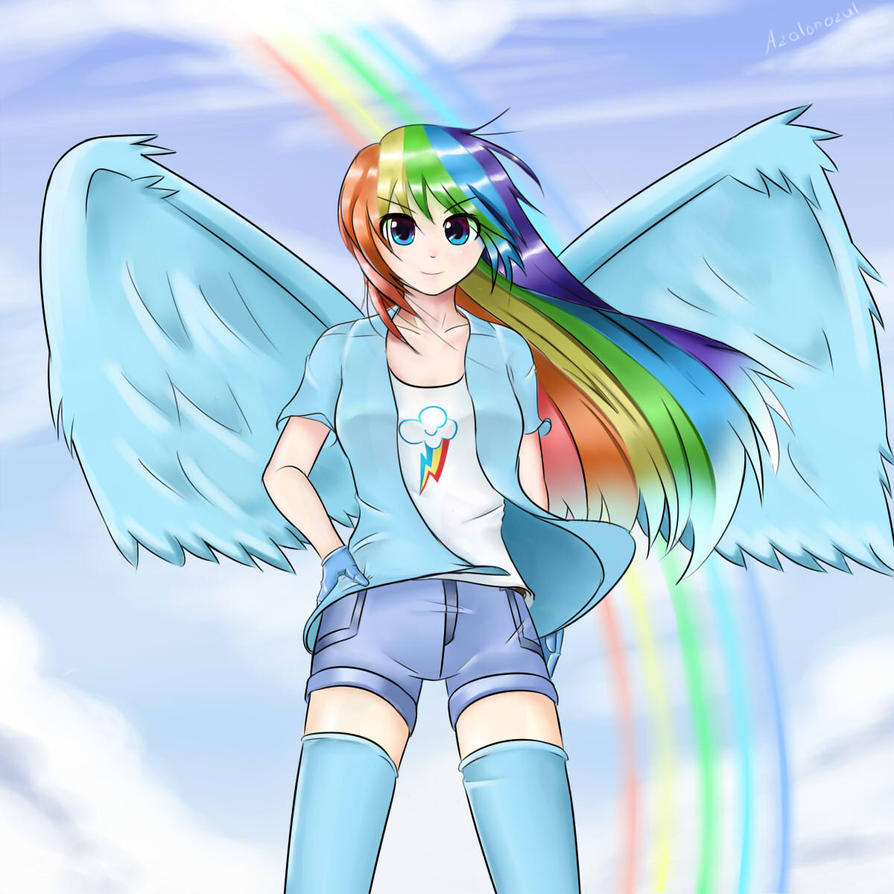 rainbow dash human form by azalonozul on deviantart