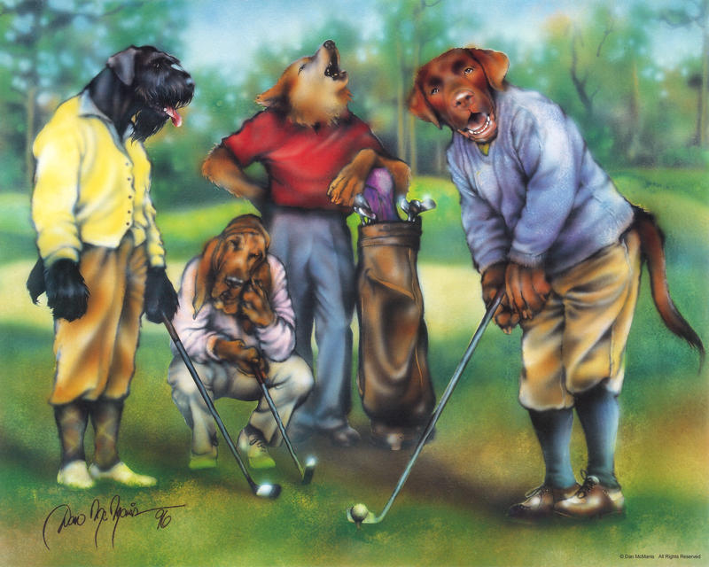 Dogs Playing Golf by DanMcManis