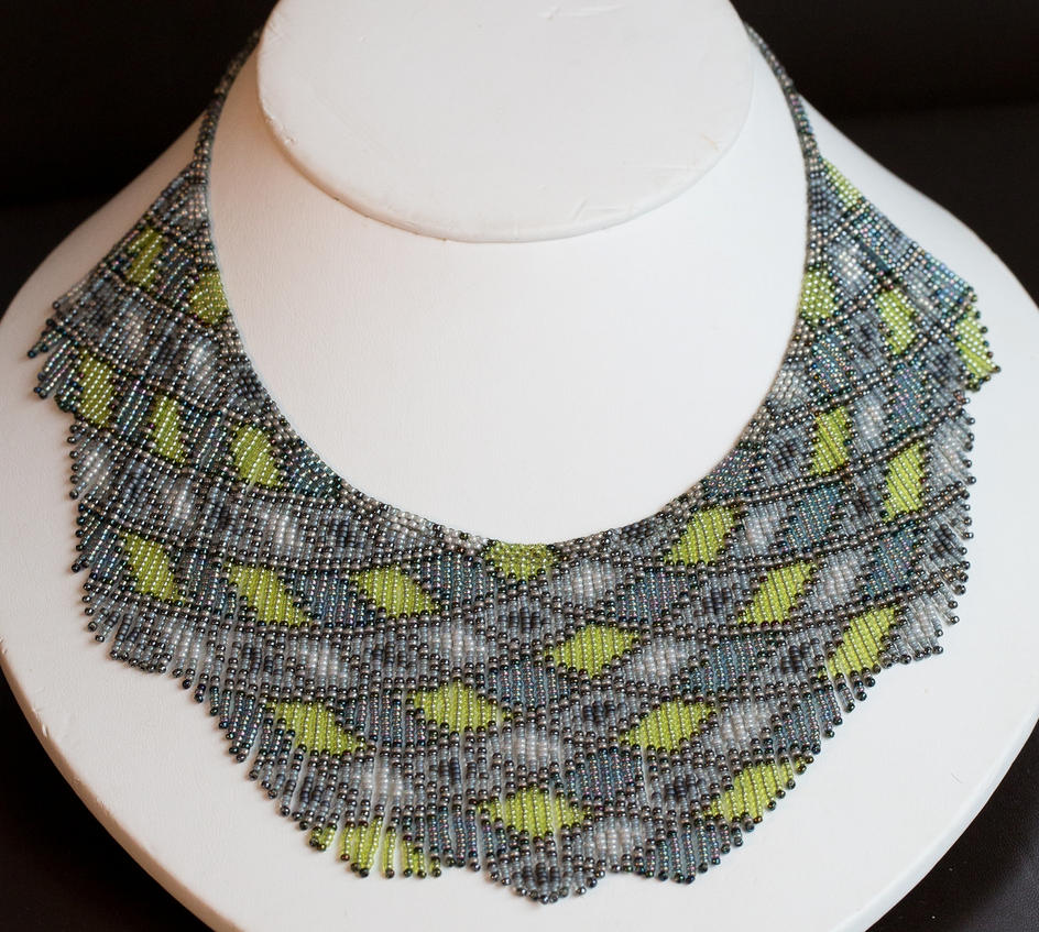 Helmineitsyt 1.4.2. seed bead necklace, gray lime by AxmxZ
