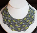 Helmineitsyt 1.4.2. seed bead necklace, gray lime