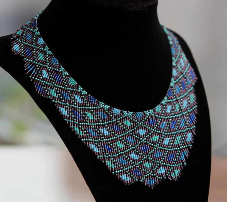Old colors, new style: aqua seed bead necklace by AxmxZ on DeviantArt