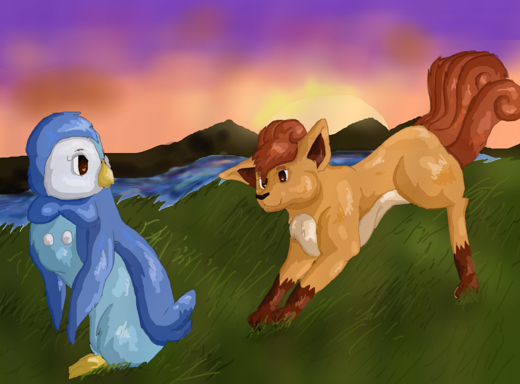 Vulpix And Piplup by Peppermintninjakitty