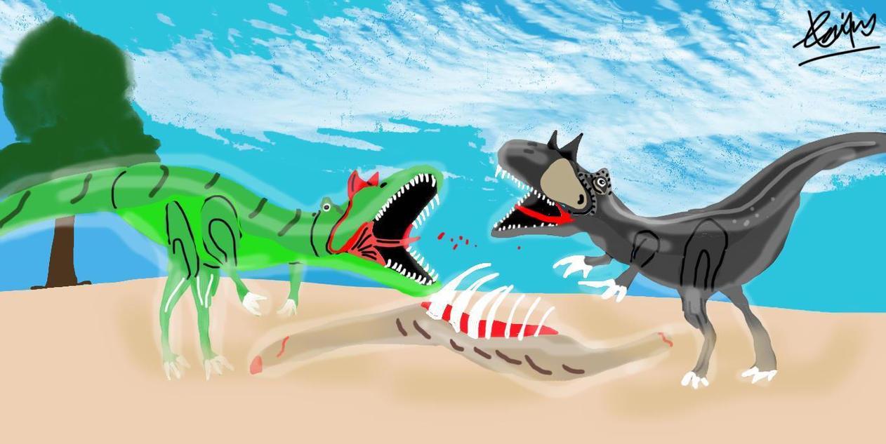 Allosaurus vs Saurophagnax by DinoGuy777
