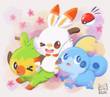 pokemon starter gen8 by Butapokko
