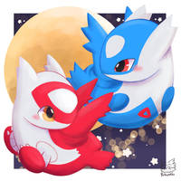 latios and latias in the moon by Butapokko