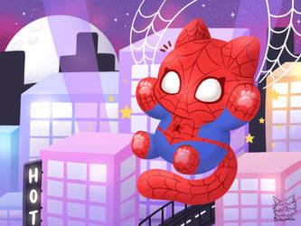 Night city spider cat