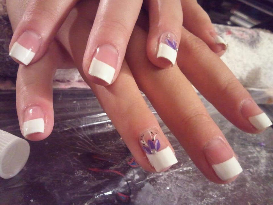French tip with purple flower by happynails on deviantart french tip with purple flower by happynails prinsesfo Image collections