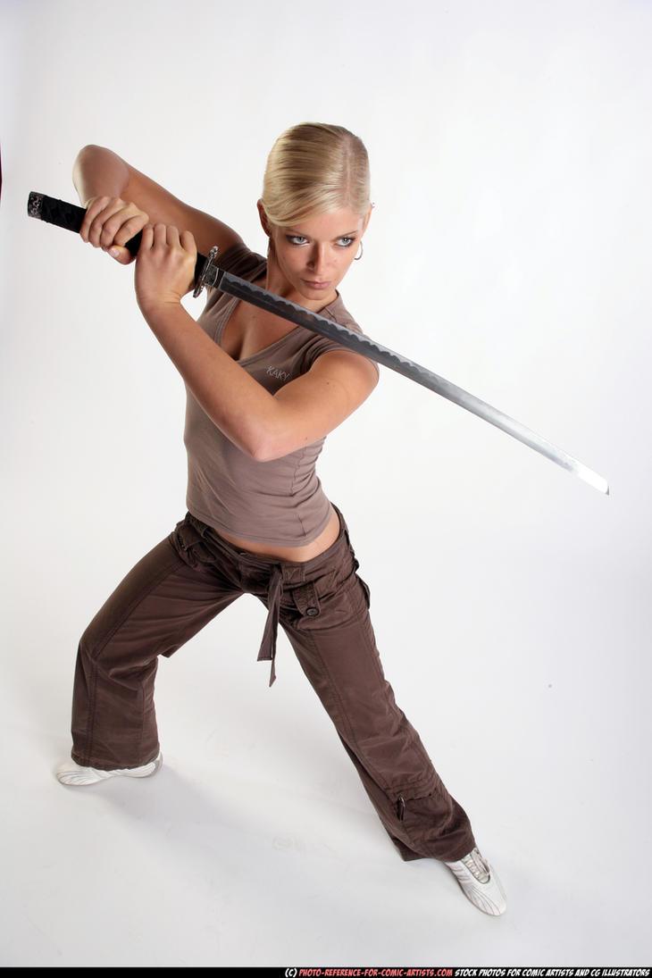 Girl - defend pose - katana by comicReference