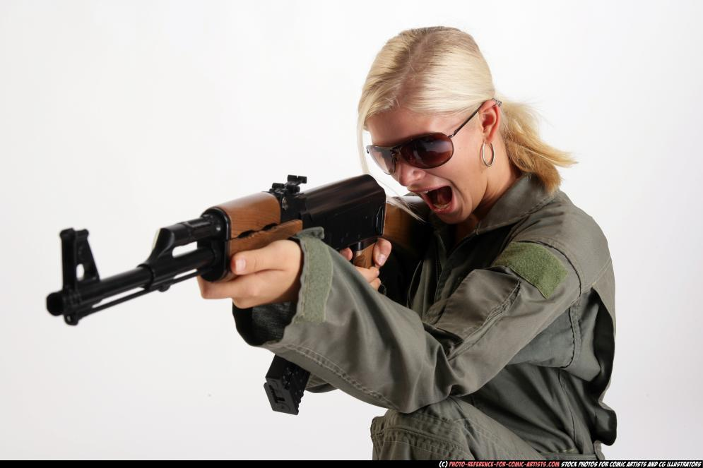 Shooting Blonde In Combat High by comicReference