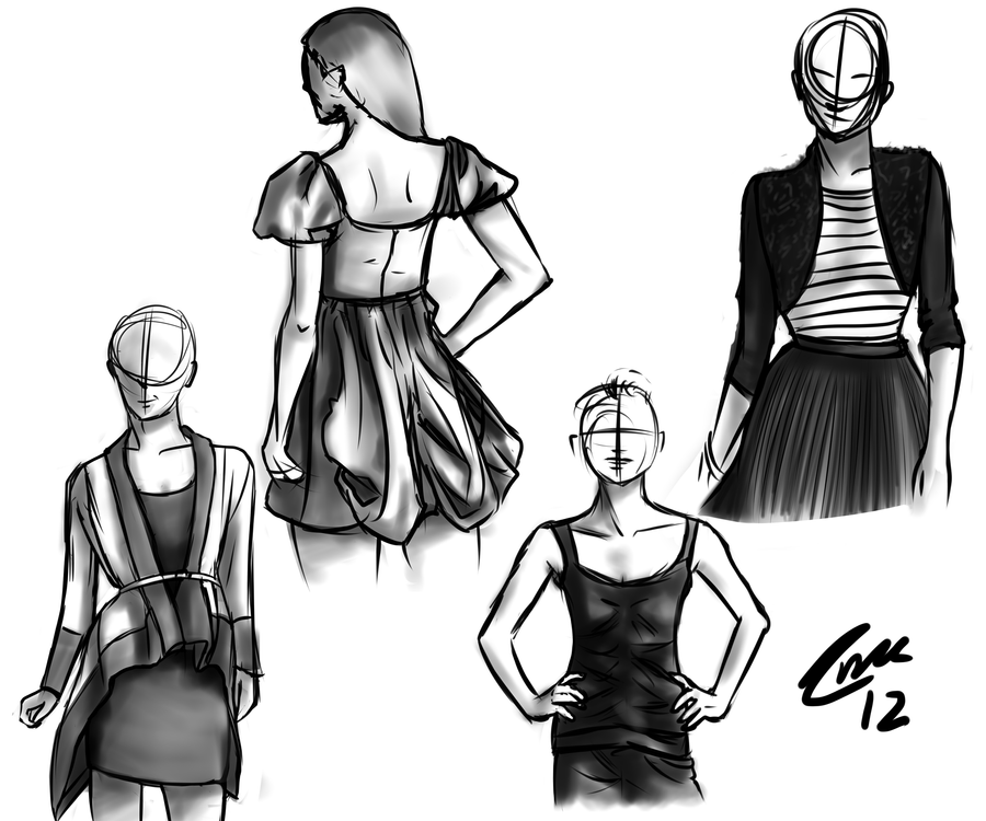 Quick Clothing Sketches 2-2-12 by catc0617 on DeviantArt