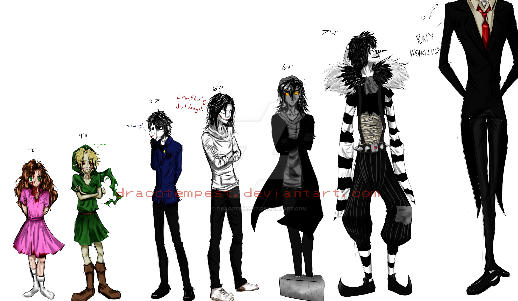 Creepypasta Height Comparison By DracoTempest On DeviantArt