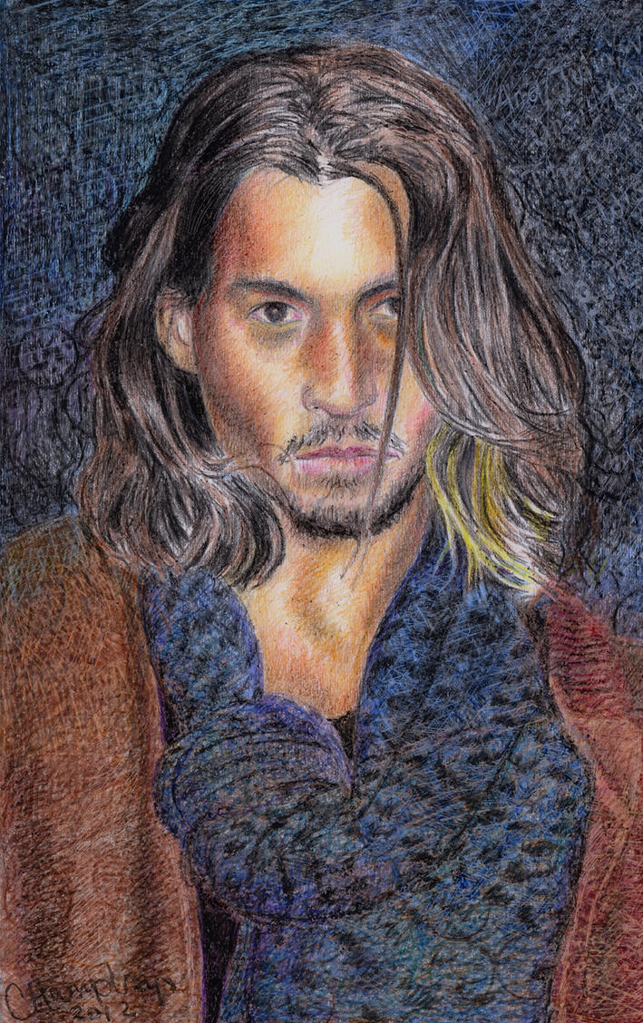 Johnny Depp crayon portrait by CaroleHumphreys