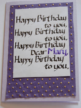 A card for Mary.