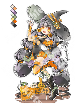 Adoptable Halloween Witch gril (open)
