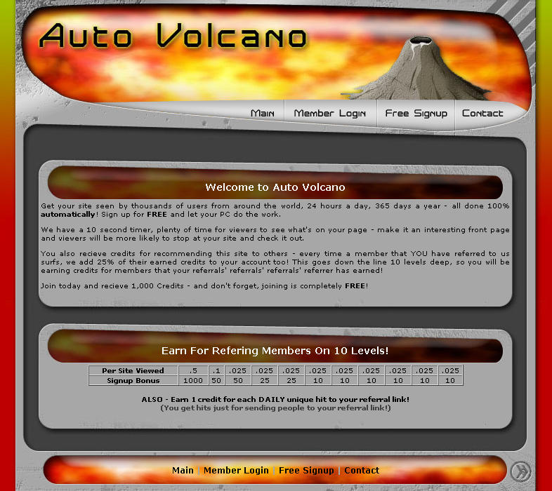 Auto Volcano Site Design by smosh