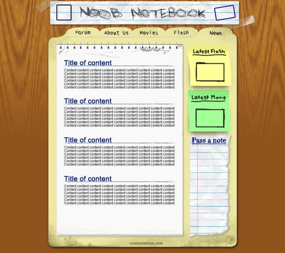 Noob Notebook [site design] by smosh