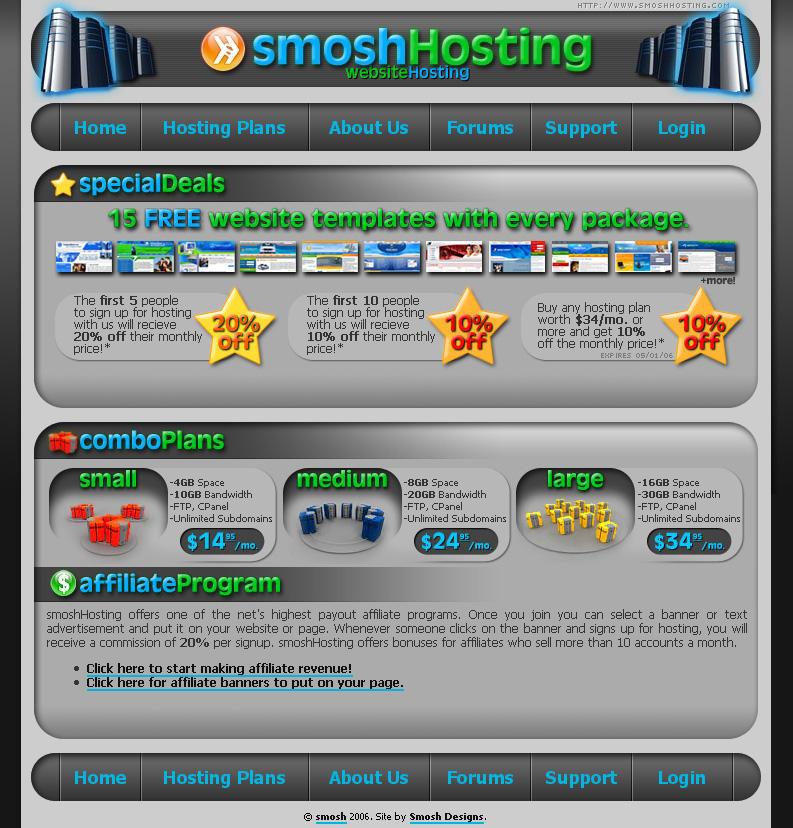 smoshHosting Site Design by smosh