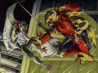 Clash of Man-Beasts - ManSpider VS ManBat 2018 by Armorwing