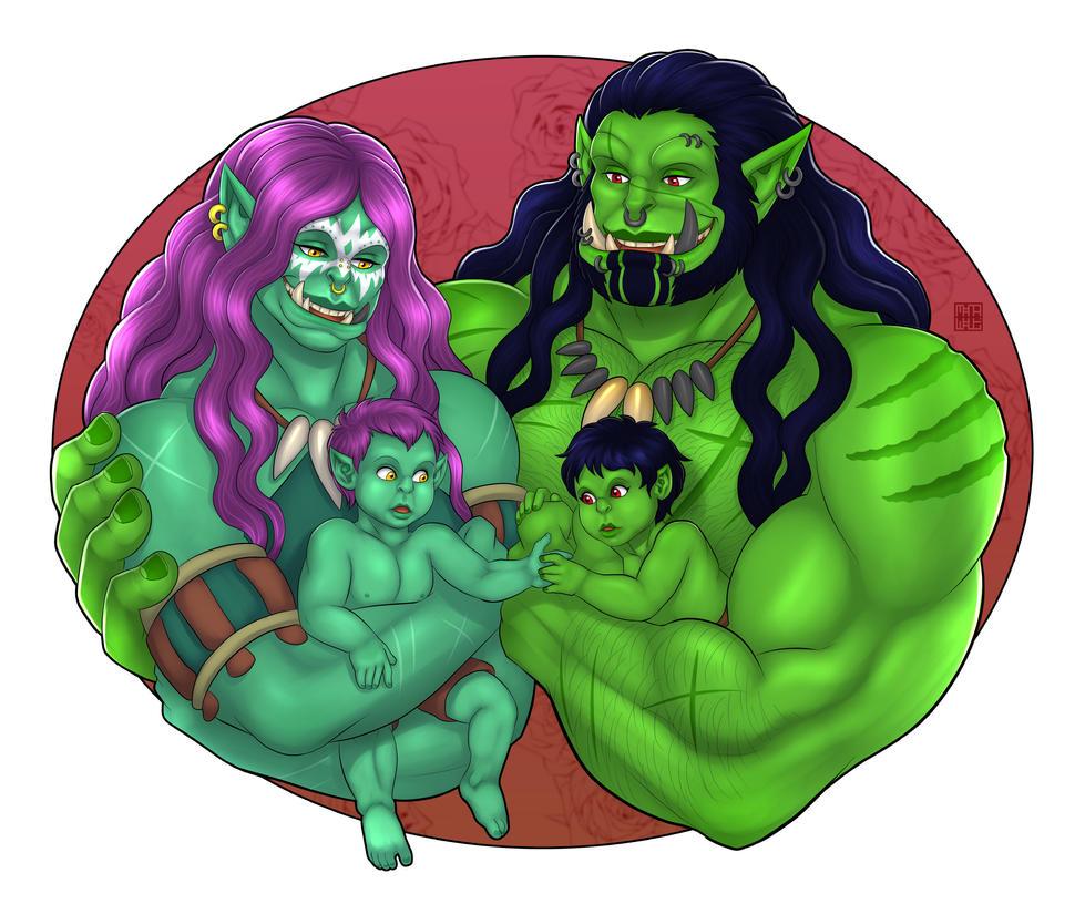 Rokamo and Kor'kosh with their children! by Reignboy