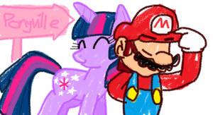 Twilight and Mario by HeartinaRosebud