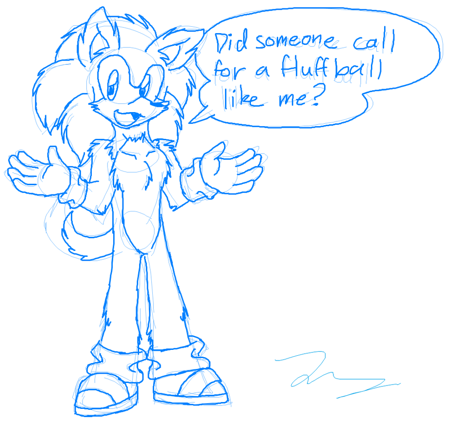 Sketch: A Fluffball Like Sonic by HeartinaThePony
