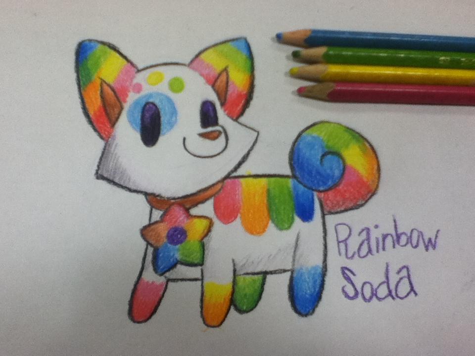 Rainbow Soda-Pom Auction (Closed) by HeartinaThePony
