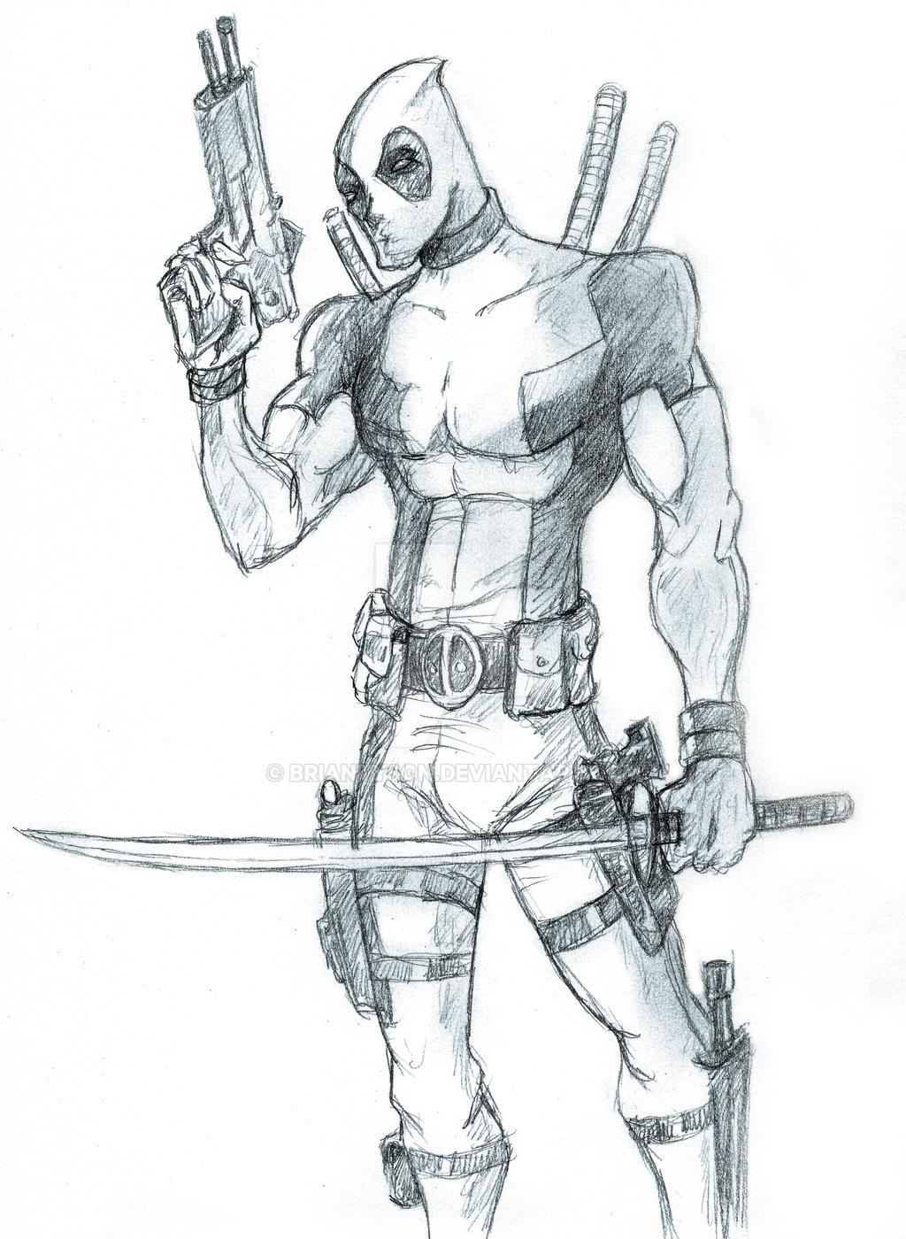 Full Body Cartoon Deadpool Drawing
