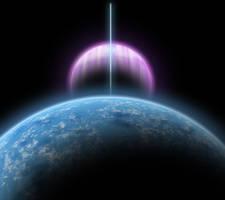 Earth-like Moon Orbiting Superjovian Exoplanet by Eduardo-Tarasca