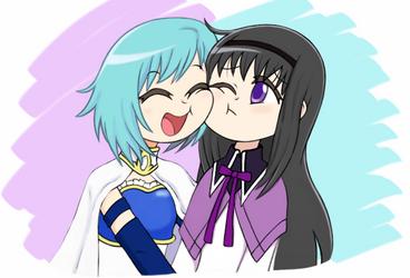 Sayaka e Homura by Hellengomes15