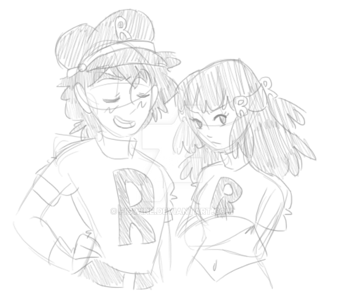Team Rocket Ash and Dawn! by figwine