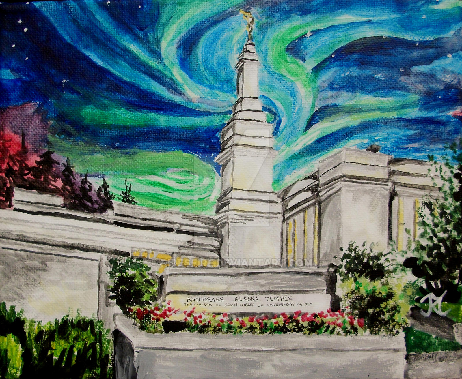 Co color art printing anchorage alaska -  Northern Lights Over Anchorage Alaska Lds Temple By Ridesfire