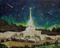 Meteor Shower over Billings, Montana LDS Temple