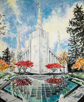 Autumn Glow at the Portland, Oregon LDS Temple by Ridesfire