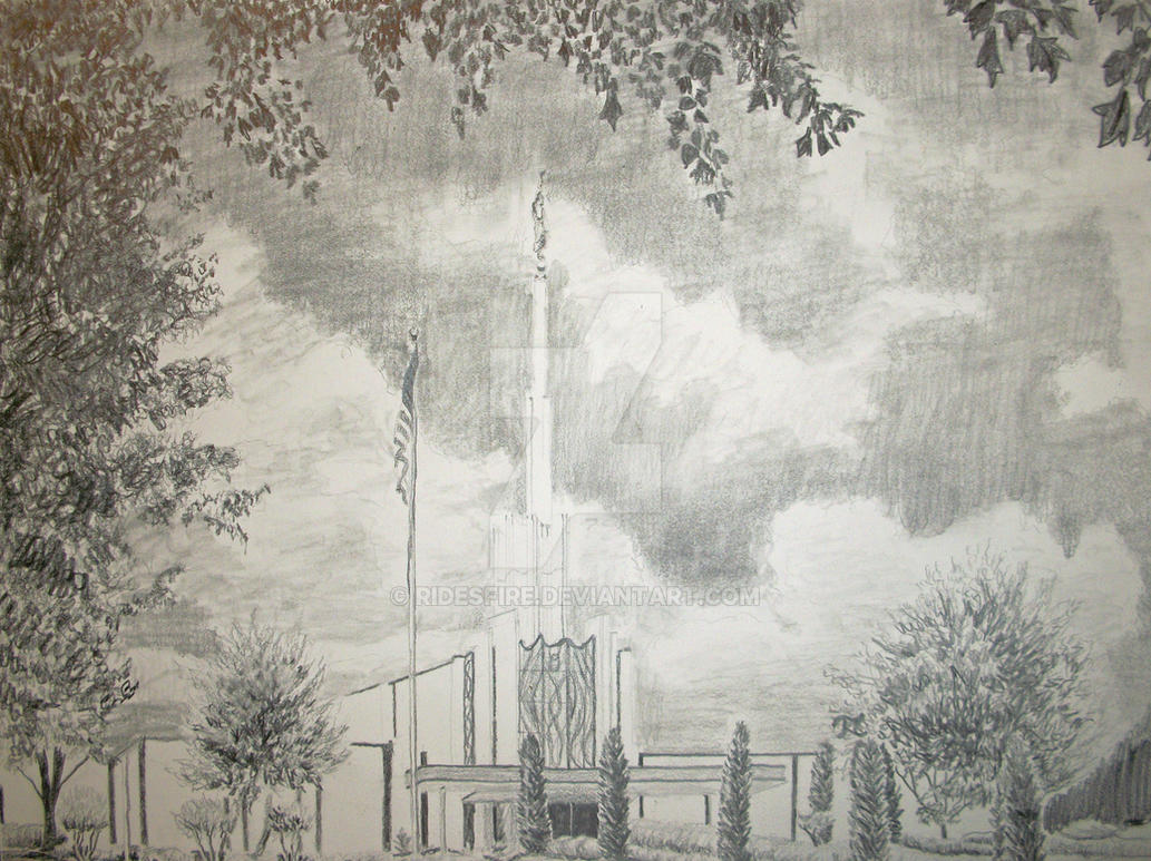Atlanta Georgia LDS Temple Drawing by Ridesfire