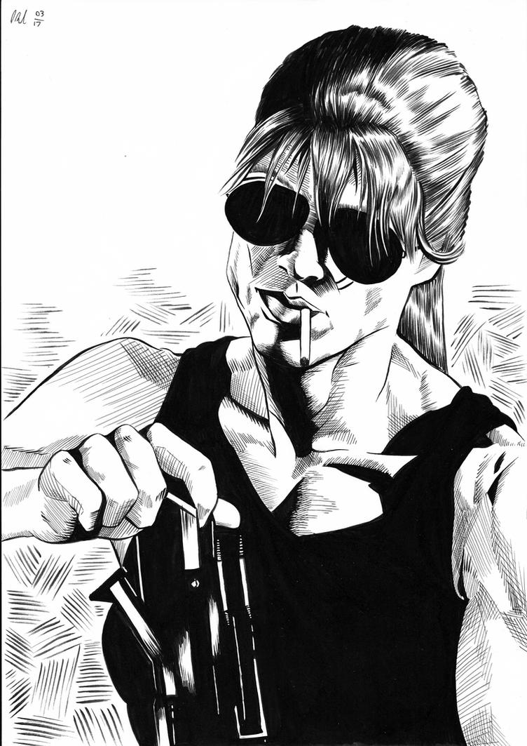 Sarah Connor (inks) by philtactics