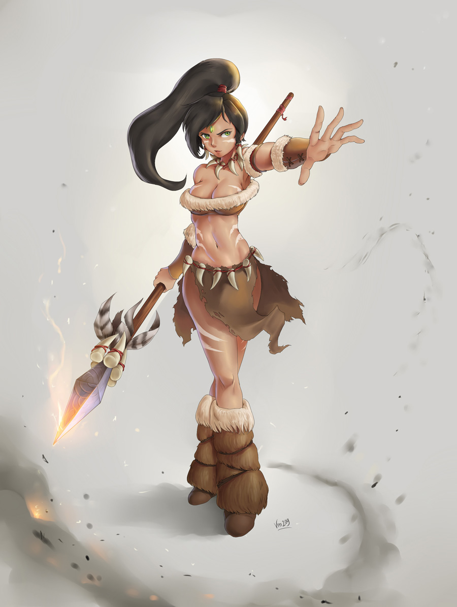 NIDALEE Fanart (2nd background) by VirtualMan209