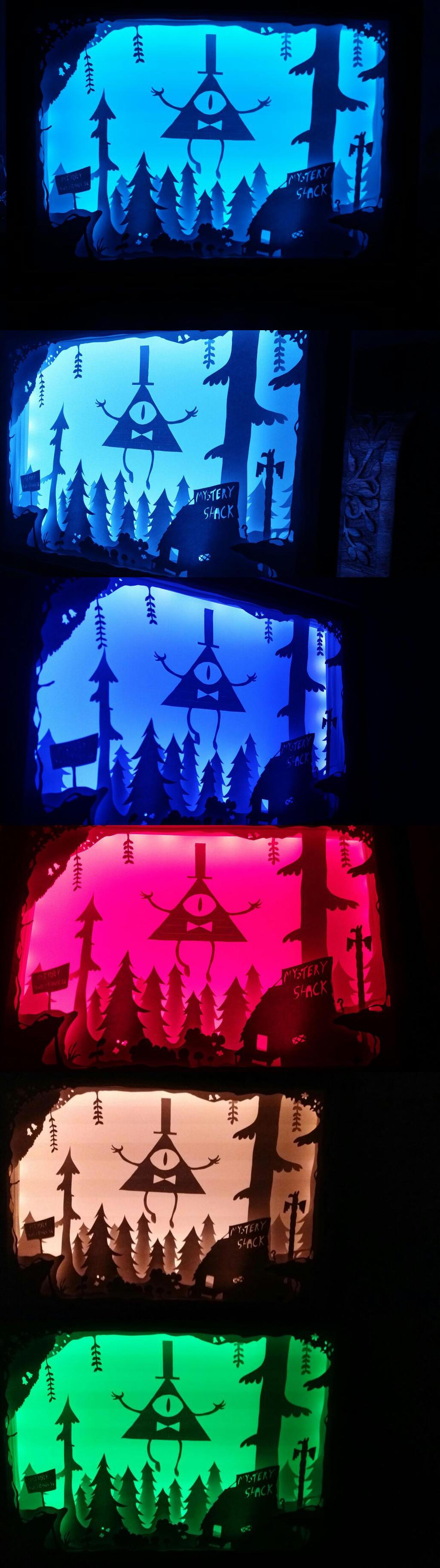 3D diorama lightbox (Bill Cipher) by das-chu