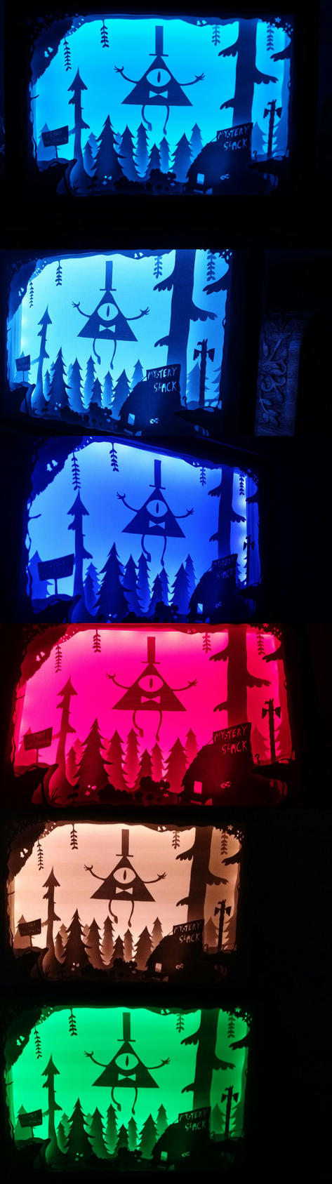 3D diorama lightbox (Bill Cipher) by das-chu