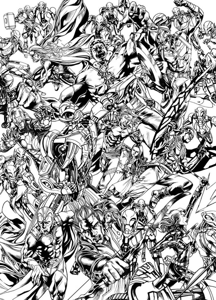 The Avengers versus Ultron B/W by Titancross